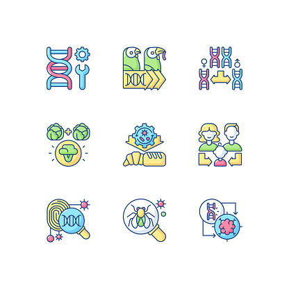 Genetics RGB color icons set