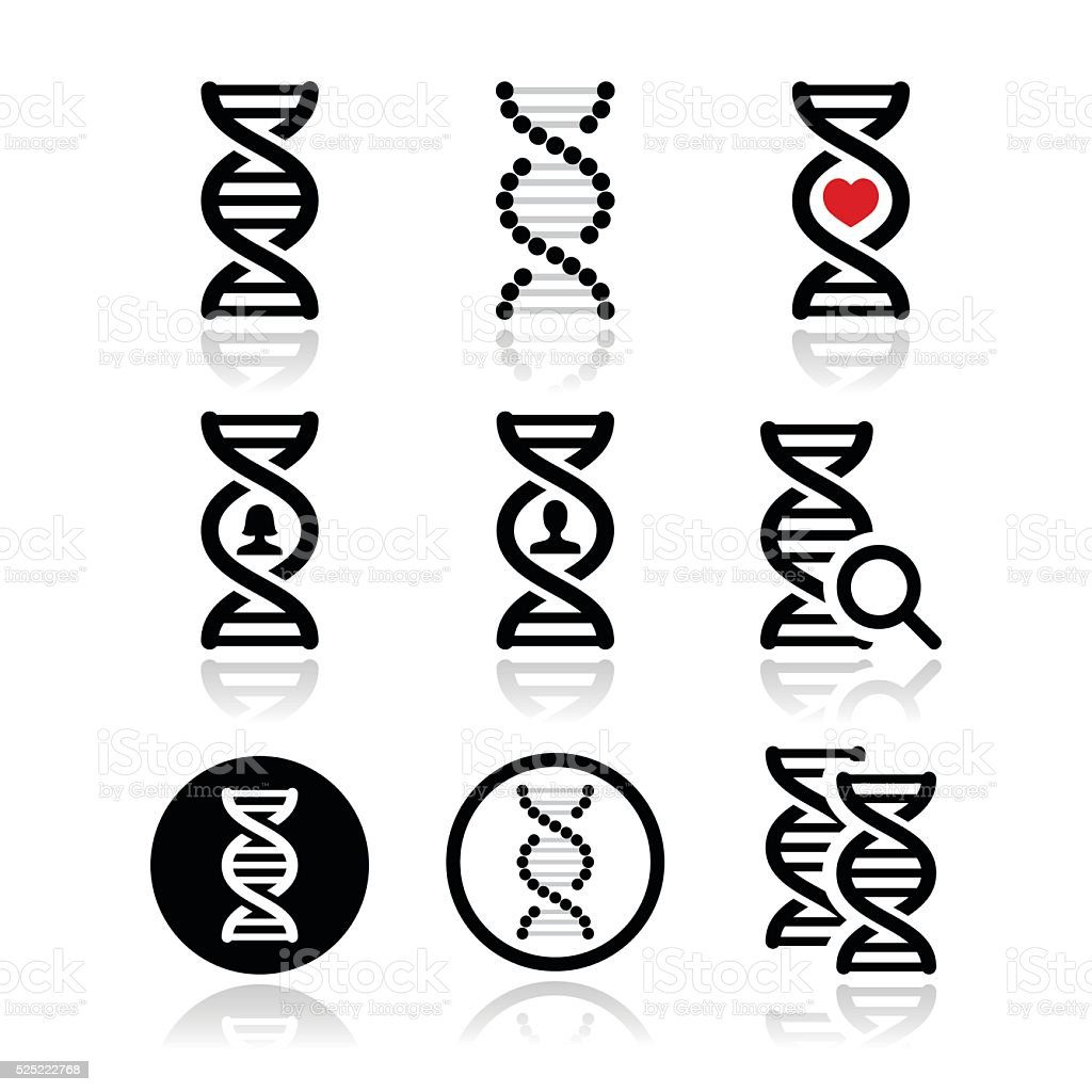 DNA, genetics vector icons set vector art illustration