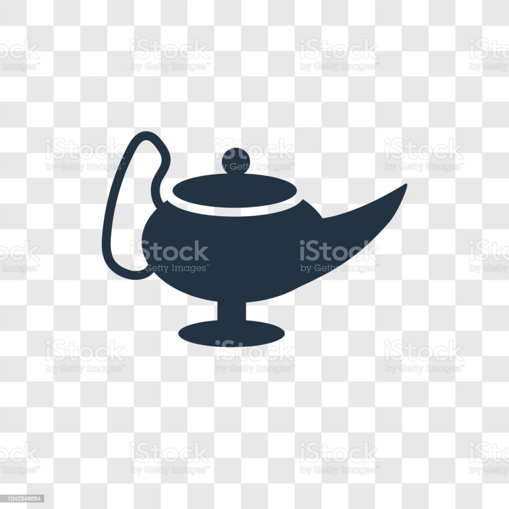 Genie Lamp vector icon isolated on transparent background, Genie Lamp transparency logo design vector art illustration