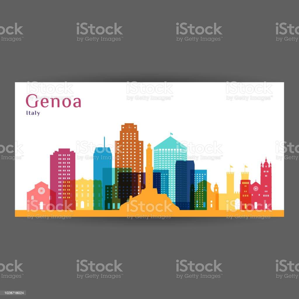 Silhouette De Gnes Ville Architecture Panorama Color Design Plat Carte