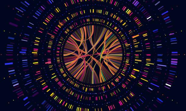 ilustraciones, imágenes clip art, dibujos animados e iconos de stock de datos del genoma. visualización de código de barras de secuencia genética, prueba de adn y la secuenciación genética médica mapa vector concepto ilustración - investigación genética