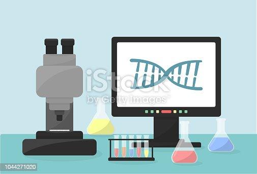 Flat vector illustration of laboratory equipment. Microscope, computer, test tubes as illustration. Healthcare illustration.
