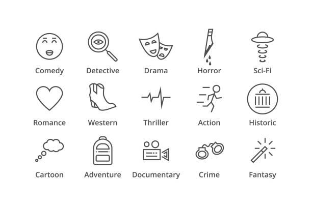 illustrazioni stock, clip art, cartoni animati e icone di tendenza di genres. include detective, comedy, sci-fi etc - thriller