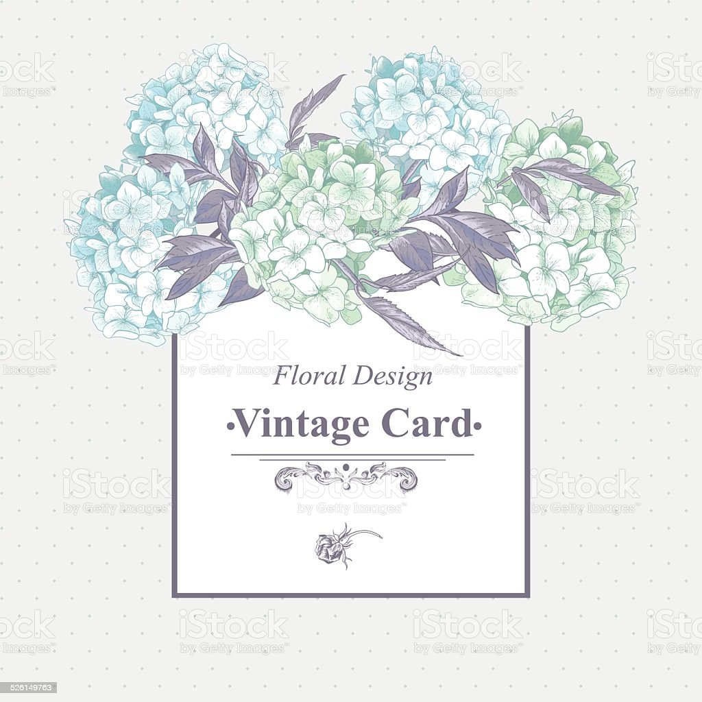 Gentle Blue Vintage Floral Greeting Card vector art illustration