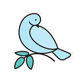 Gentle dove decorative element.