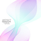 Gentle pink, neon teal waveform. Elegant line art design element. Abstract background with subtle squiggly curves. Glowing wave. Decorative pattern, light colored gradient. Vector wavy lines. EPS10 illustration