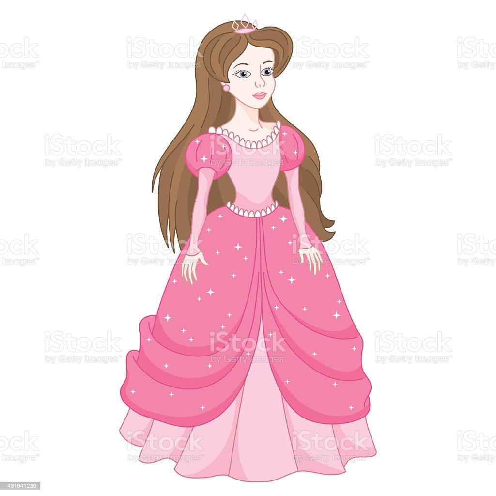 Ligeira Princesa em vestido rosa com spangles - ilustração de arte vetorial