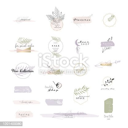 gentle set of botanical and chic logo