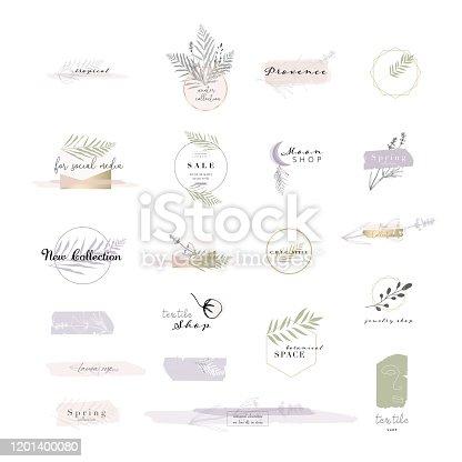 gentle set of botanical and chic logo