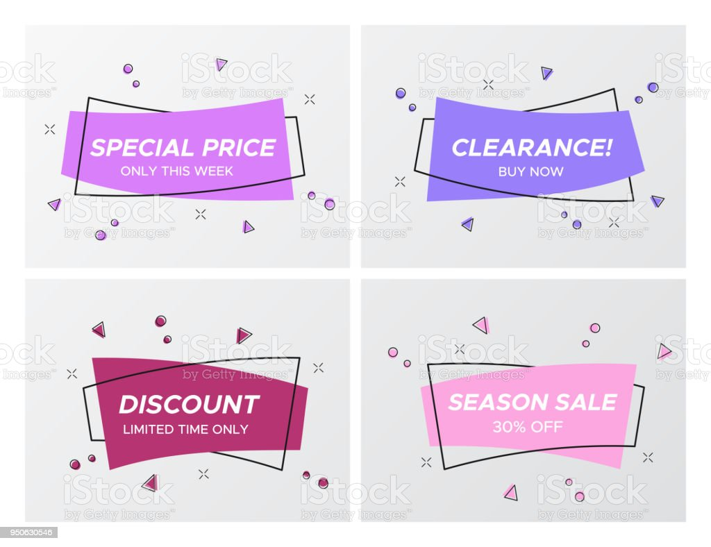 gentle violet colors sale tags with confetti blast stock vector art