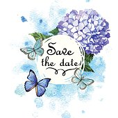 Gentle watercolor card with blue hydrangea and butterflies