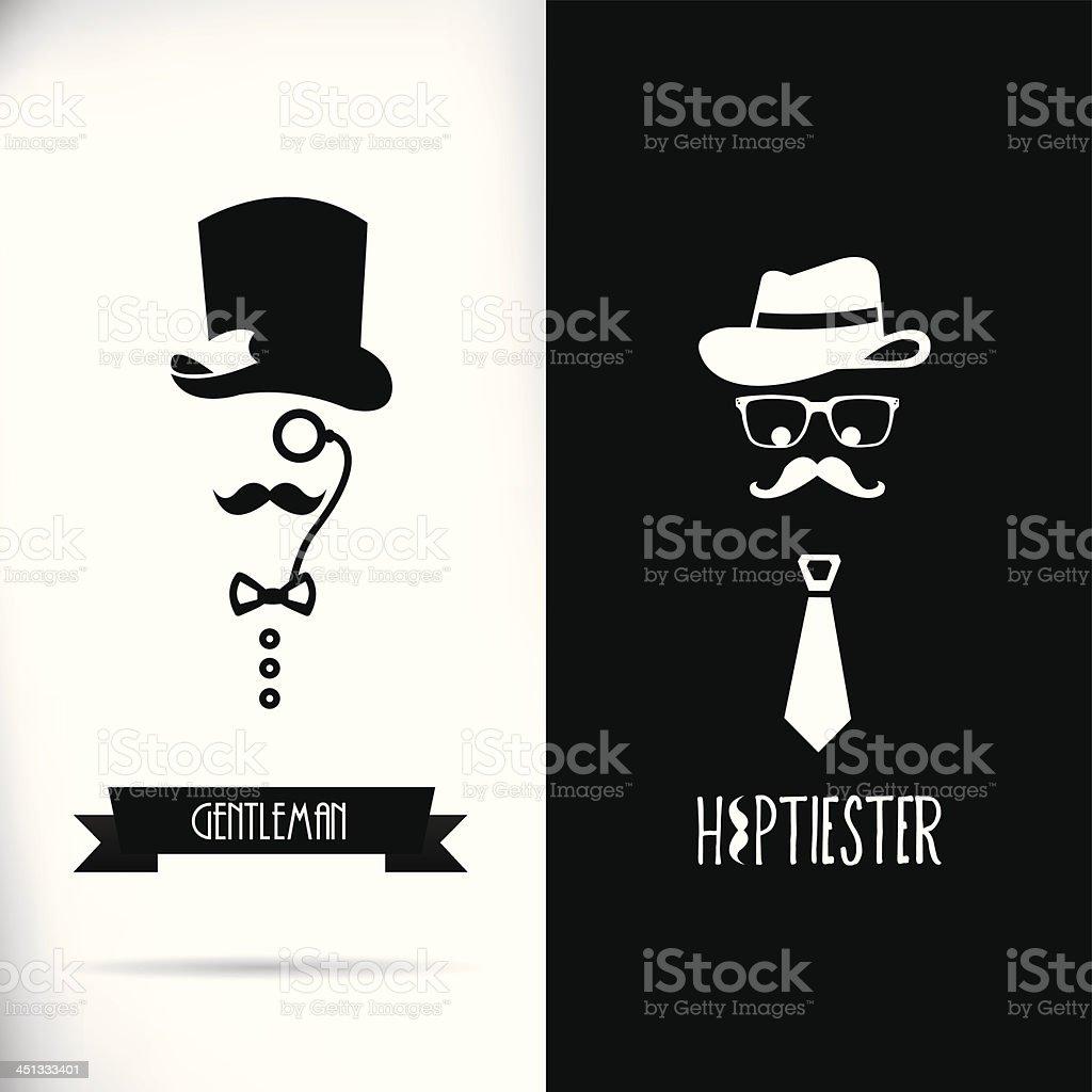 Gentleman and hipster vector art illustration