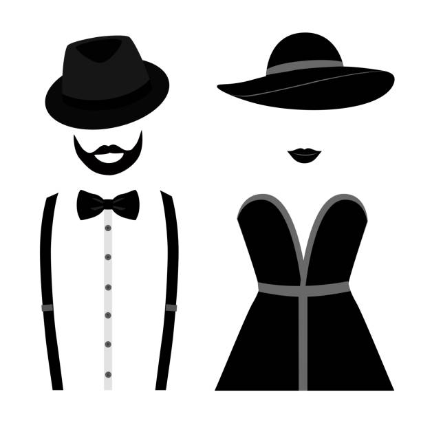 Gentleman and lady icon isolated on white background. Gentleman and lady icon isolated on white background. Vector illustration tuxedo stock illustrations