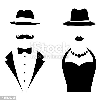 Gentleman and Lady Symbols. Man and Woman Head Silhouettes