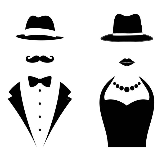 Gentleman and Lady Symbols Gentleman and Lady Symbols. Man and Woman Head Silhouettes tuxedo stock illustrations