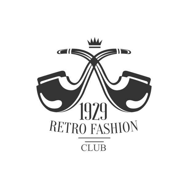 gentleman club label design with crossed pipes - 1920 1929 stock illustrations
