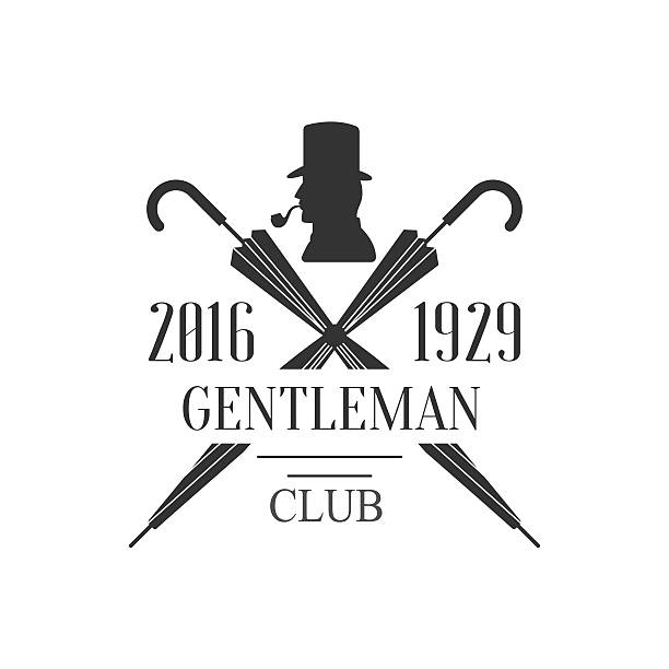 gentleman club label design with crossed umbrellas - 1920 1929 stock illustrations