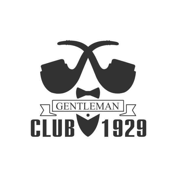 gentleman club label design with pipes - 1920 1929 stock illustrations