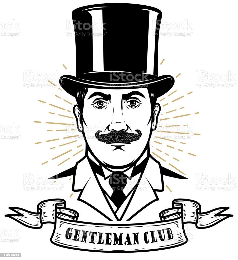 Club de caballeros. Cabeza de hombre en sombrero de la época. Elemento de  diseño 24e69a66824