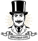 Gentleman club. Man head in vintage hat. Design element for label, emblem, sign, poster, label.