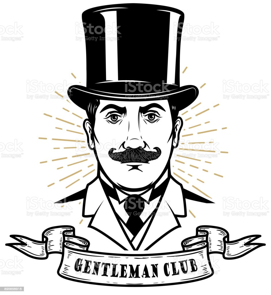 Gentleman club. Man head in vintage hat. Design element for label, emblem, sign, poster, label. vector art illustration