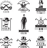 Gentleman club. Vector badges set. Gentleman emblem and label collection illustration