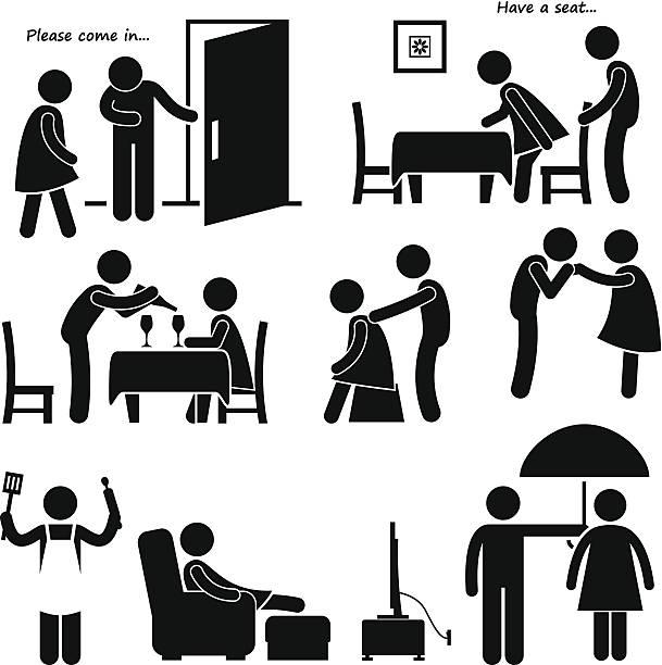 Gentleman courtois homme copain Stick Figure Pictogram Icon mari - Illustration vectorielle