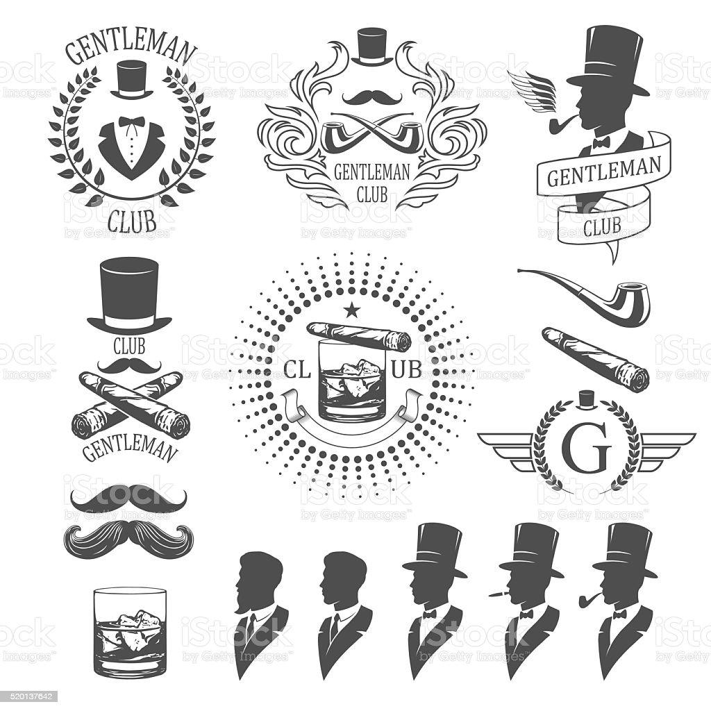 Gentleman emblems set vector art illustration
