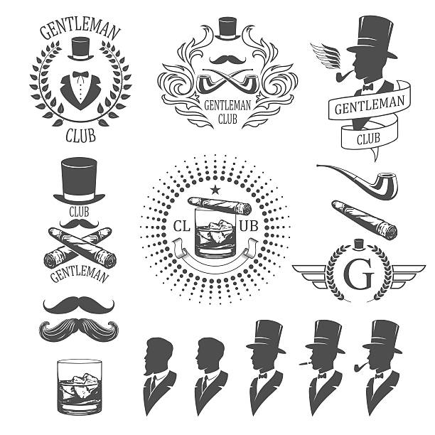 stockillustraties, clipart, cartoons en iconen met gentleman emblems set - guy with cigar