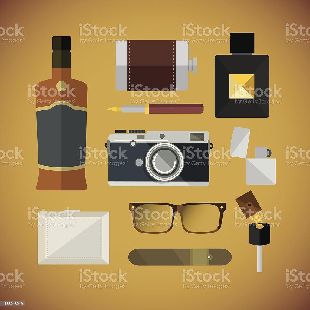 Gentleman equipment vector art illustration
