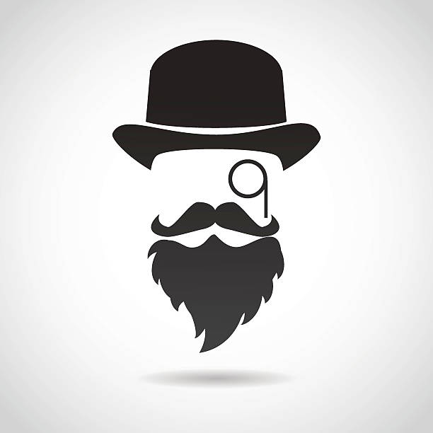 gentleman face. icon isolated on white background. - old man face silhouettes stock illustrations, clip art, cartoons, & icons