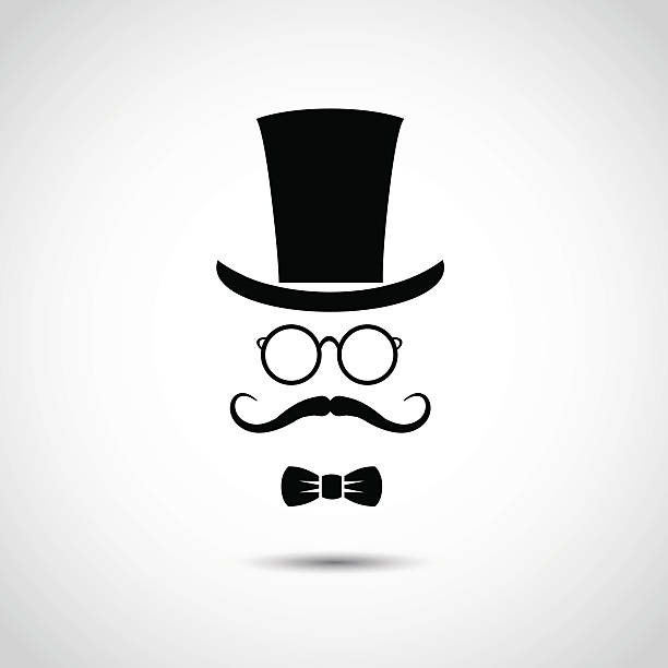 gentleman face. icon isolated on white background. - old man hat stock illustrations, clip art, cartoons, & icons