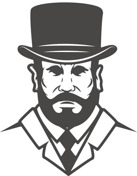 ilustrações, clipart, desenhos animados e ícones de cabeça de cavalheiro isolada no fundo branco. elemento de design para etiqueta, marca, sinal, cartaz. ilustração vetorial - moda urbana
