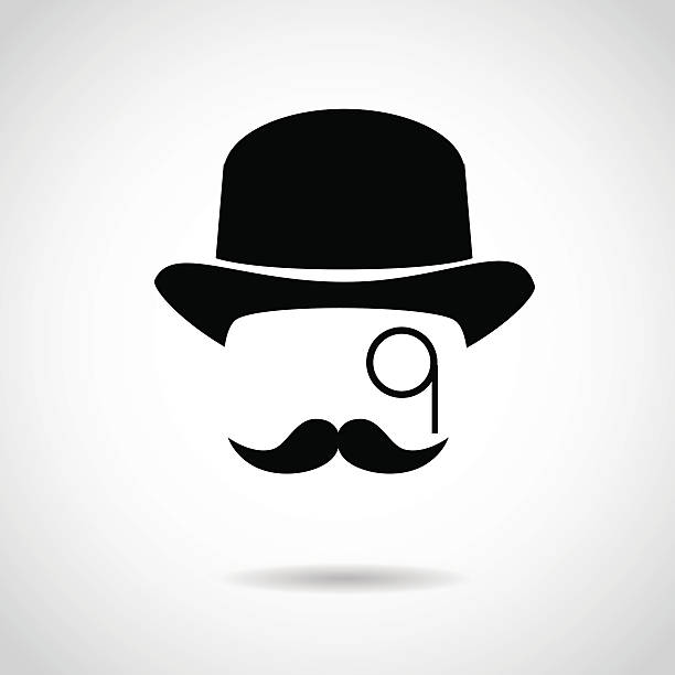 gentleman icon isolated on white background. - old man glasses silhouettes stock illustrations, clip art, cartoons, & icons