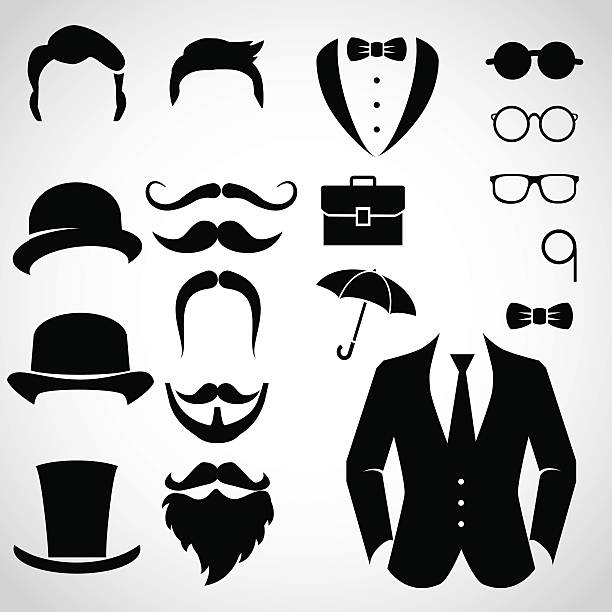 gentleman icon set. - old man hair stock illustrations, clip art, cartoons, & icons