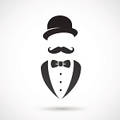 Vector illustration: retro gentleman symbol.
