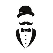 Vector illustration: symbol of stylish gentleman.