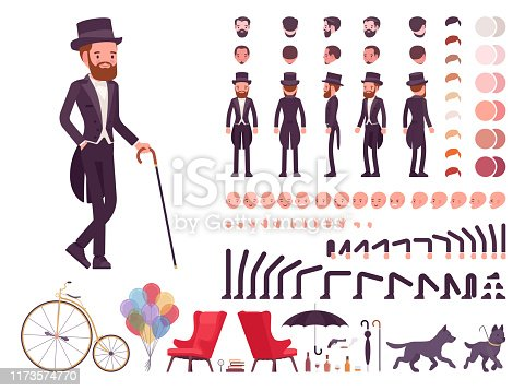 Gentleman in black tuxedo jacket construction set, fashionable dandy man in classic suit and cylinder hat kit, creation elements to build your own design. Cartoon flat style infographic illustration