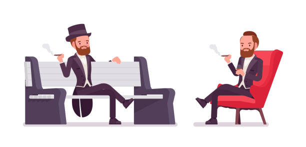 gentleman in black tuxedo jacket sitting - old man smoking cigar stock illustrations, clip art, cartoons, & icons