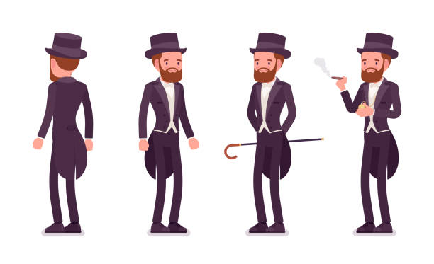 gentleman in black tuxedo jacket with tails standing - old man smoking cigar stock illustrations, clip art, cartoons, & icons