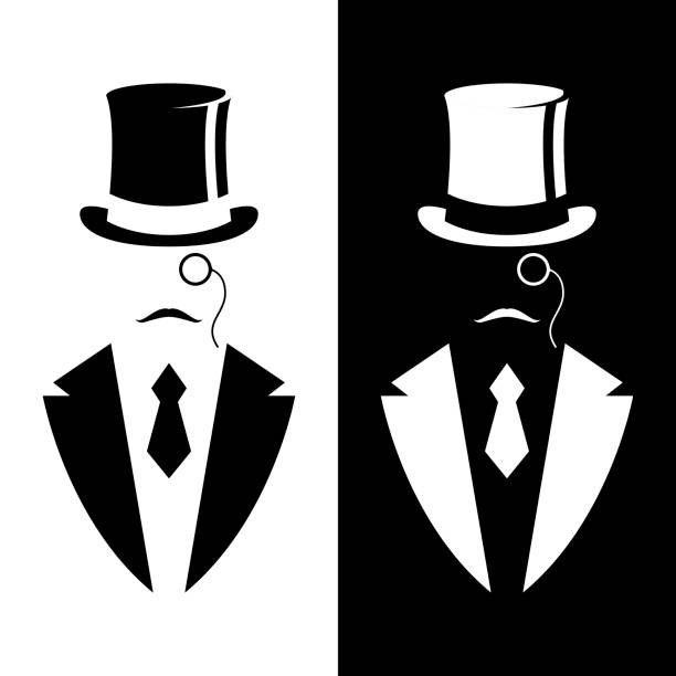 Gentleman in tuxedo and vintage hat. Black and white design. Vector illustration. Gentleman in tuxedo and vintage hat. Black and white design. Vector illustration. tuxedo stock illustrations