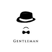 Gentleman on white background. Hat, moustache and bow tie.