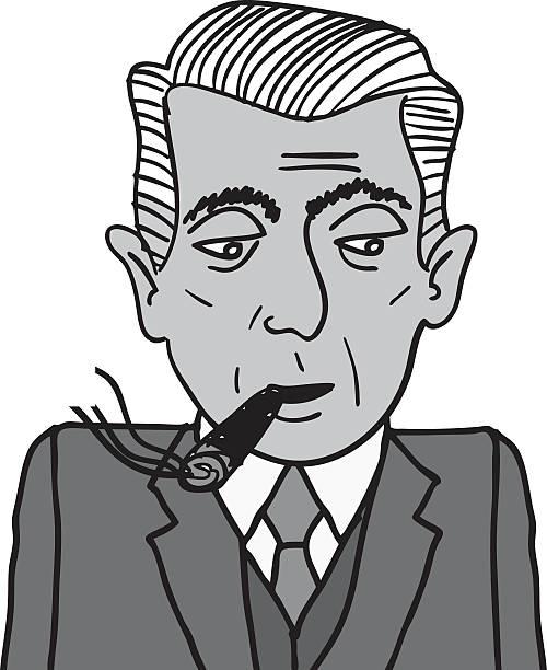 gentleman smoking a cigar - old man smoking cigar stock illustrations, clip art, cartoons, & icons