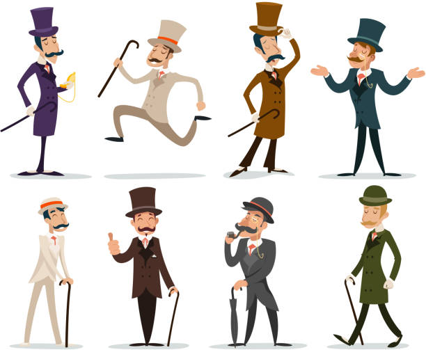 gentleman victorian business cartoon character icon set english isolated background - 영국 문화 stock illustrations