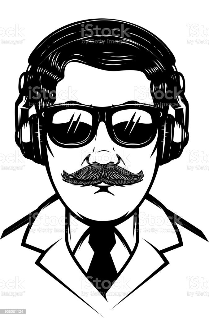 Gentleman with headphones and sun glases.Design element for poster, t shirt, card. vector art illustration