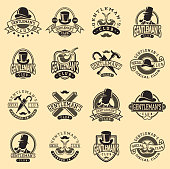 Set of vintage style design hipster icons. Vector illustration gentleman s icon badges. Antique graphic design mustache element. Premium quality man shop stamp.