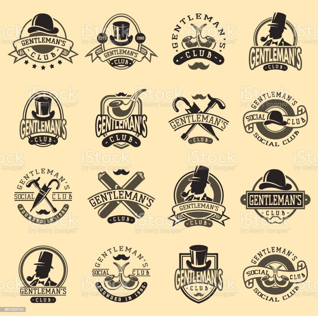 Gentlemans vintage badges vector illustration vector art illustration