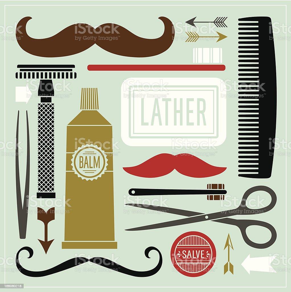 Gentlemen Grooming vector art illustration