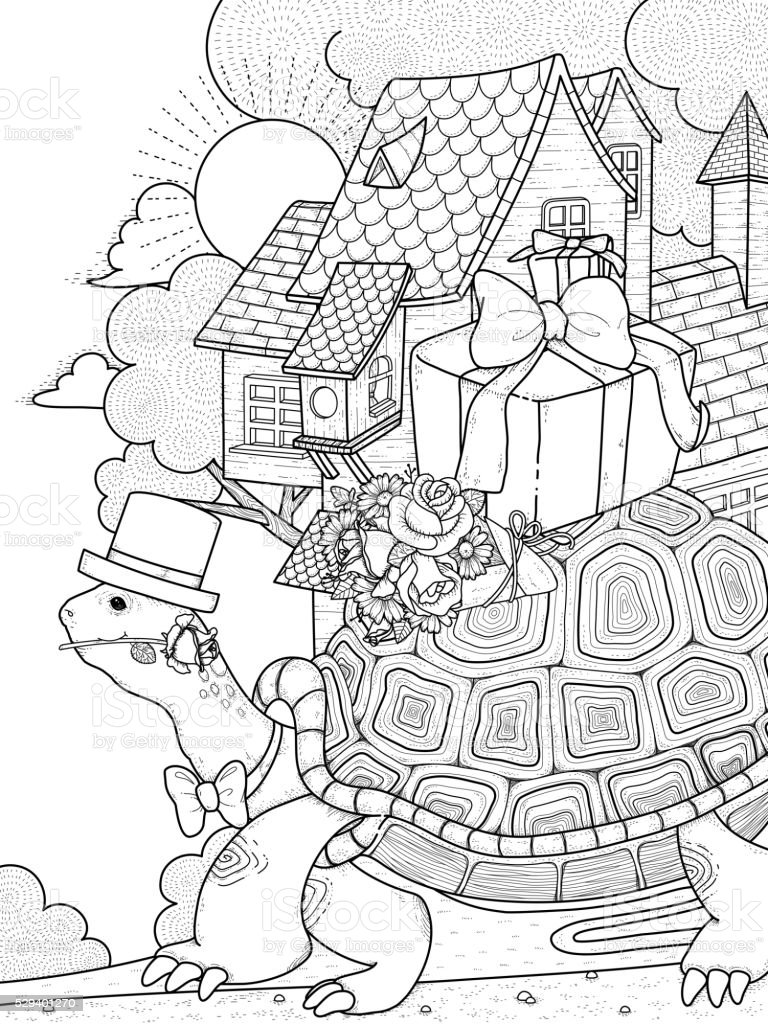 Turtle coloring page Royalty Free Vector Image   1024x768
