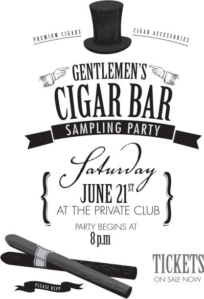stockillustraties, clipart, cartoons en iconen met gentlemen's cigar party invitation design - guy with cigar